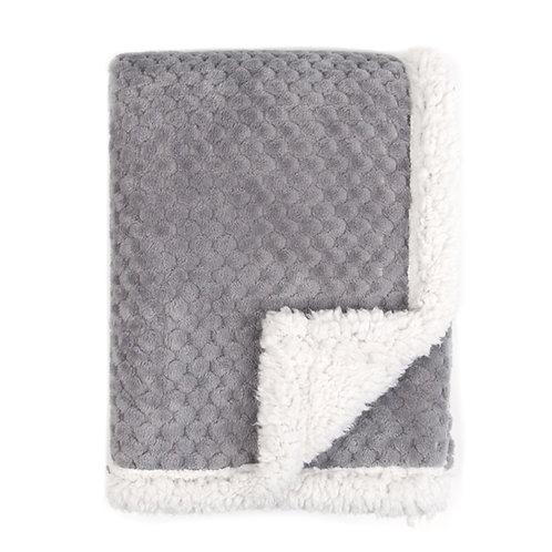 Minky dot grey sherpa baby blanket