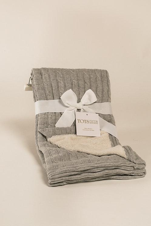 Tots Grey Sherpa Blanket