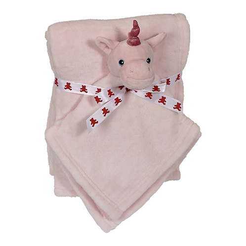 Pink Unicorn blanket and blankey gift set