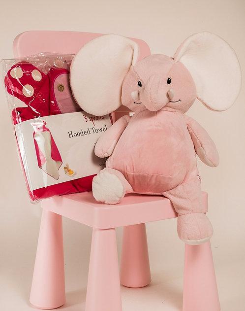 Pink elephant girl gift set