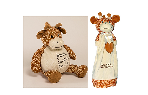 Personalized Giraffe and blanky set
