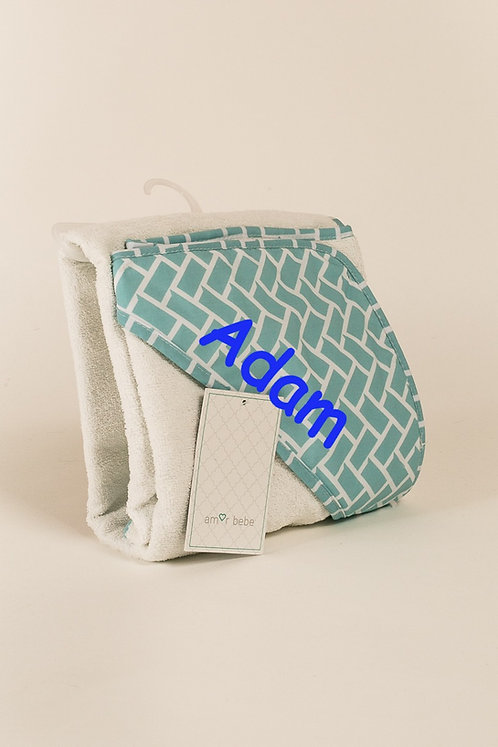 Personalized blue hooded towels