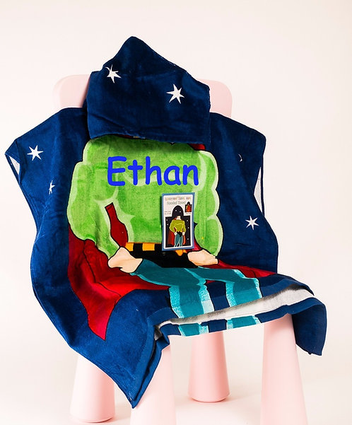 Personalized super hero poncho towel