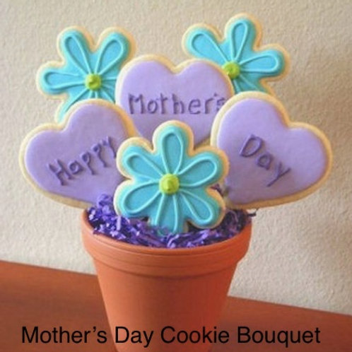 6 Decorated Cookies in a pot for Mother's Day