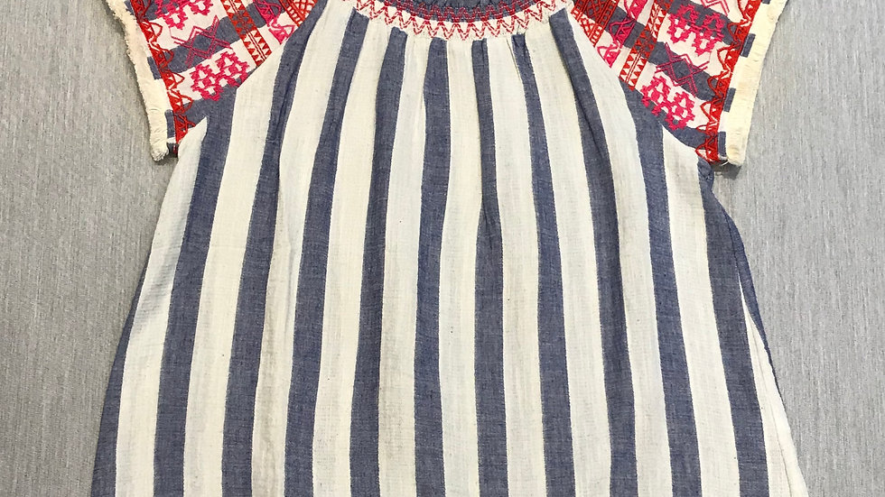Blue and White Stripped with Red Embroidery and Fringe Sleeves