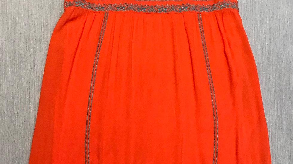 Summer Orange Embroidered Detail Dress