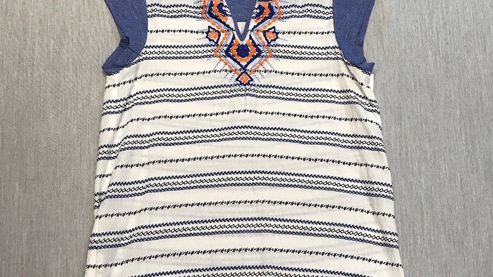 Blue and White Cap Sleeve Top with Orange and Blue Embroidery