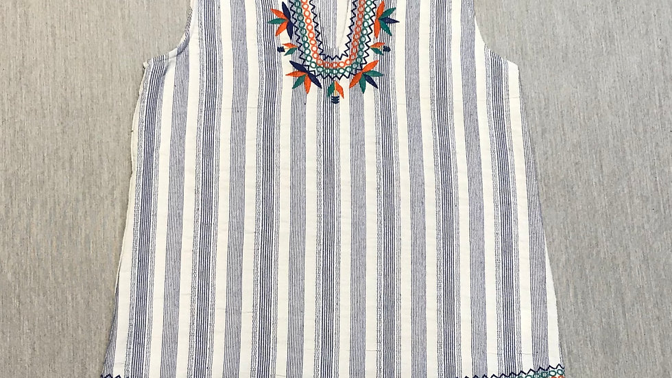 White and Blue Stripped Embroidered Tank
