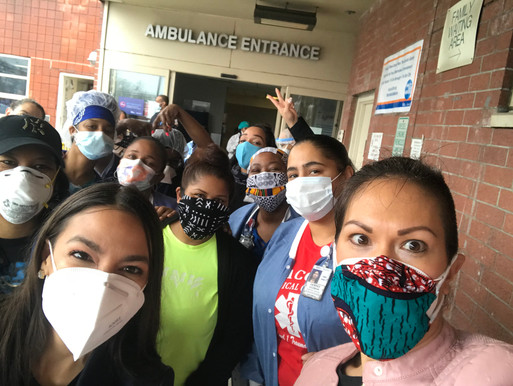 Rep. AOC and Kristin take a selfie with crowd of nurses, all masked, as Kristin delivers PPE in NYC during the height of the pandemic on behalf of the nonprofit she cofounded, Masks For America.