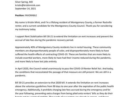 Testimony on Rent Stabilization Bill 30-21