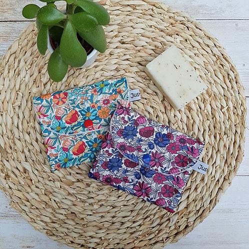 Pochette à savon imperméable coton enduit et éponge