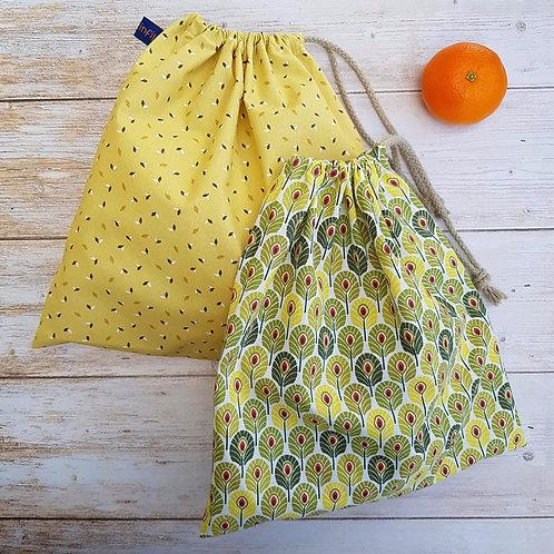 Sac à vrac tissus au choix fond moutarde ou motif plumes