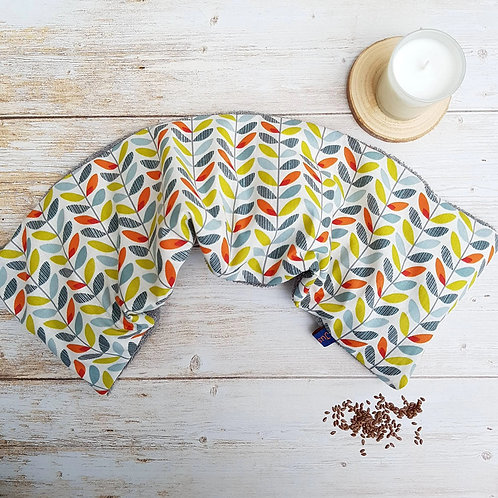 Bouillotte sèche déhoussable 53 cm housse coton géométrique feuilles et éponge