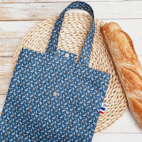 Sac à pain coton enduit fond bleu petites fleurs