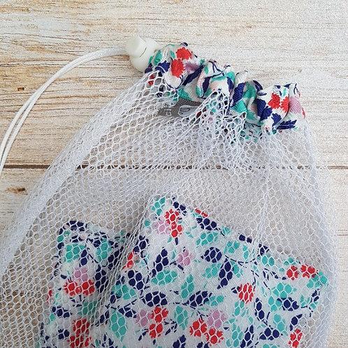 Filet lavage et ses lingettes éponge bambou et tissu liberty Andrea