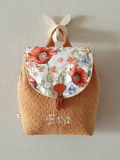 Sac à dos enfant, sac maternelle gaze brodée  et fleurs vintage