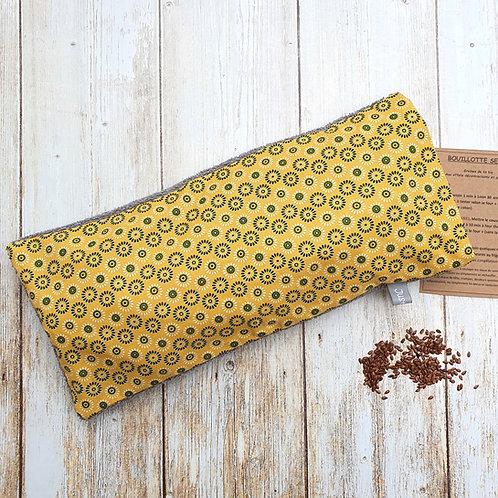 Bouillotte sèche déhoussable 53 cm housse coton jaune safran et éponge
