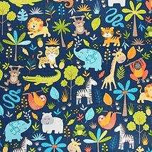 tissu-coton-makower-uk-jungle-friends-bl