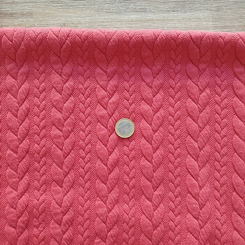 Coupon jersey maille rouge corail lainage