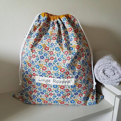 Grand pochon doublé personnalisé coton Liberty clarisse