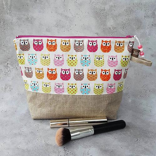 Trousse de toilette coton enduit motif chouettes décor japonais