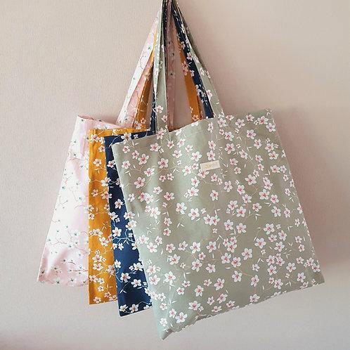 """Tote bag, Sac shopping, sac de courses  """"amandiers"""" couleurs au choix"""