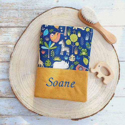 Protège carnet santé personnalisable coton motifs animaux jungle,  savane