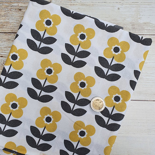 Coupon bachette fleurs jaunes fond blanc