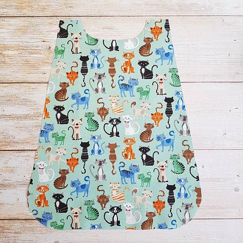 Serviette élastiquée personnalisable tissu coton motif chats et éponge