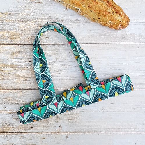 Sac à pain coton enduit géométrique coloré