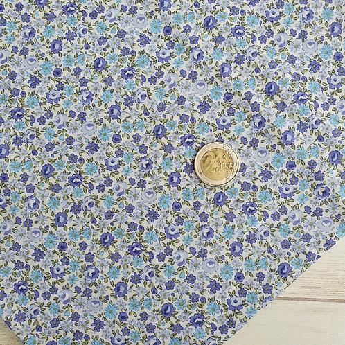 Coupon tissu coton fleurs