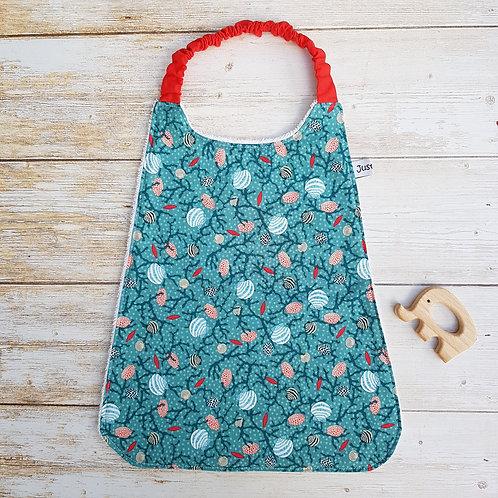 Serviette élastiquée personnalisable tissu coton motif coquillages et éponge