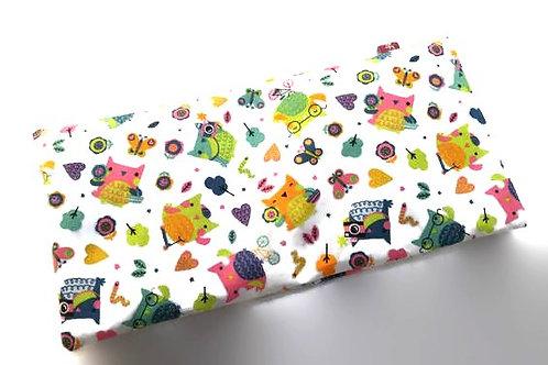 Bouillotte sèche déhoussable 31 cm housse coton Oeko Tex motif chouette