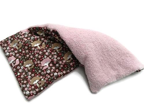 Bouillotte sèche déhoussable 31 cm housse coton motifs petits renards et éponge