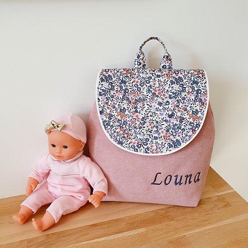Sac à dos enfant, sac maternelle velours, liberty Wiltshire blueberry