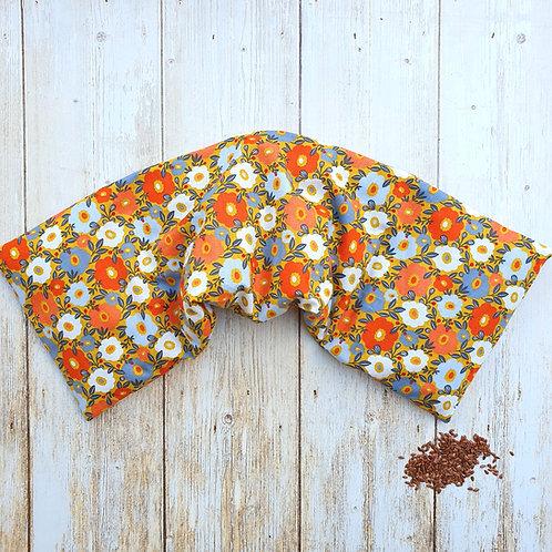 Bouillotte sèche déhoussable 53 cm housse coton fleurs et pois