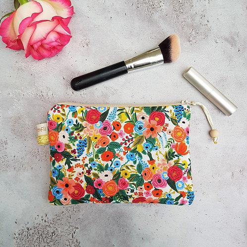 Trousse, pochette maquillage coton rifle paper co motifs fleurs doublée lin
