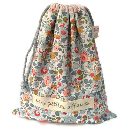Pochon doublé personnalisé coton Liberty betsy porcelaine