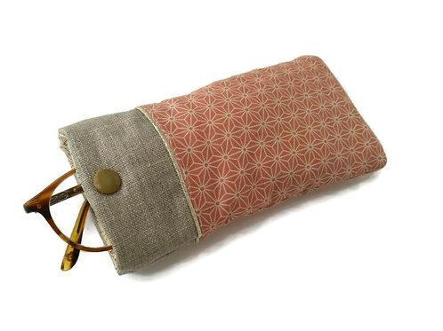 Etui à lunettes en tissu japonais saki