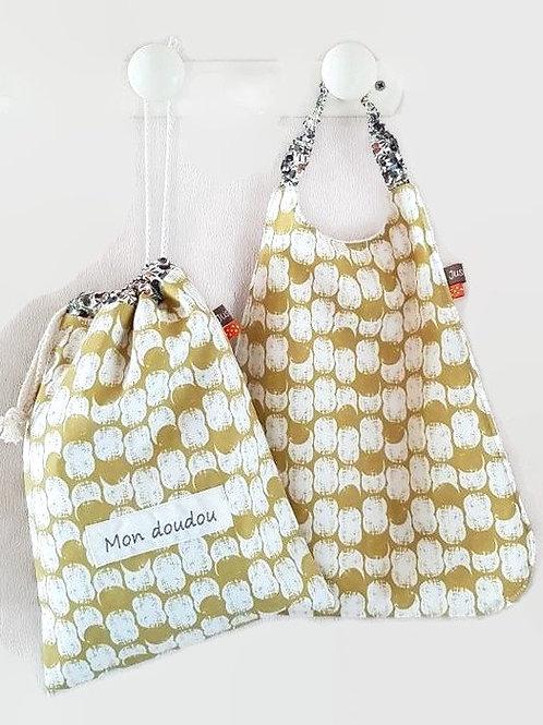 Sac à doudou tissu créateur oeko tex motif cacahuètes personnalisé