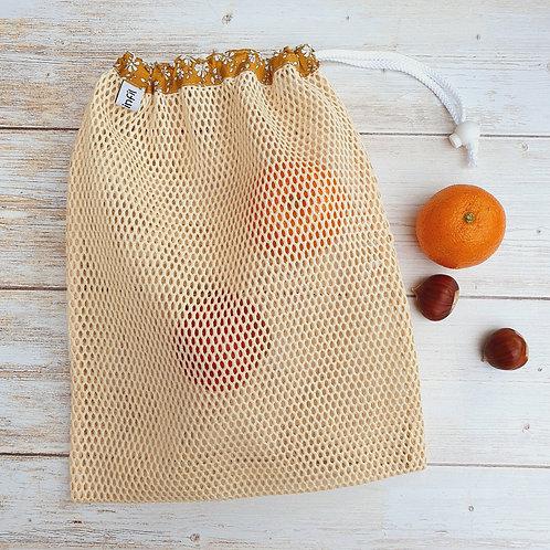 Filet lavage coton bio et tissu liberty capel moutarde