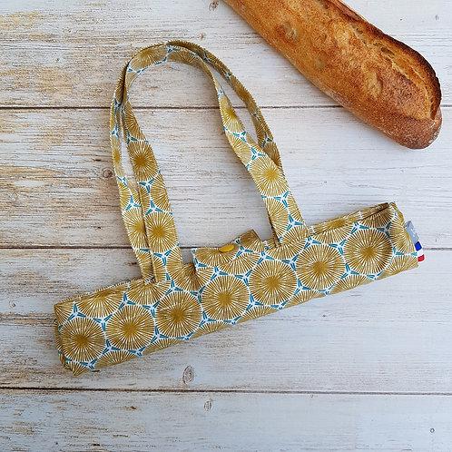 Sac à pain coton enduit géométrique style scandinave moutarde