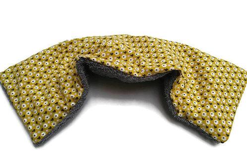 Bouillotte sèche déhoussable 53 cm housse coton moutarde et éponge