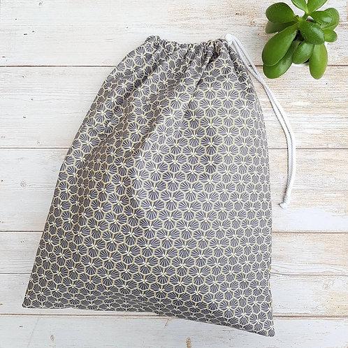 Sac à vrac tissu enduit motif géométrique gris