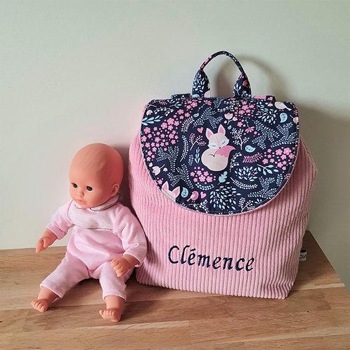Sac à dos enfant, sac maternelle velours rose et tissu motif renard fond marine