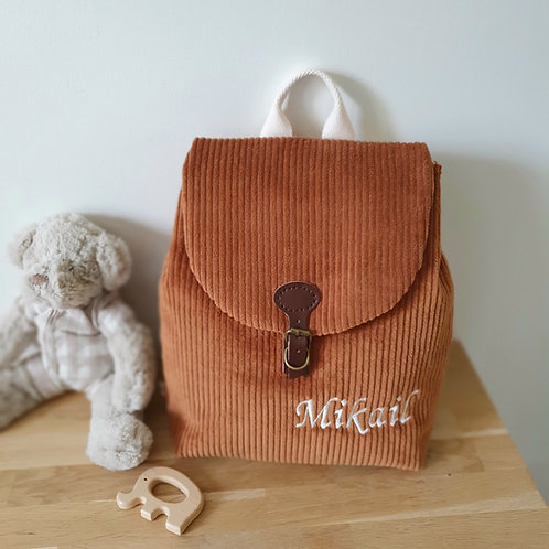 Sac à dos enfant, sac maternelle velours grosses côtes caramel
