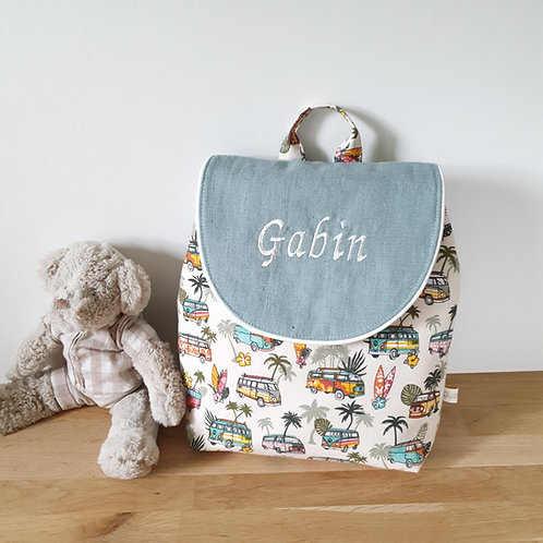 Sac à dos enfant, sac maternelle tissu van hawai et lin