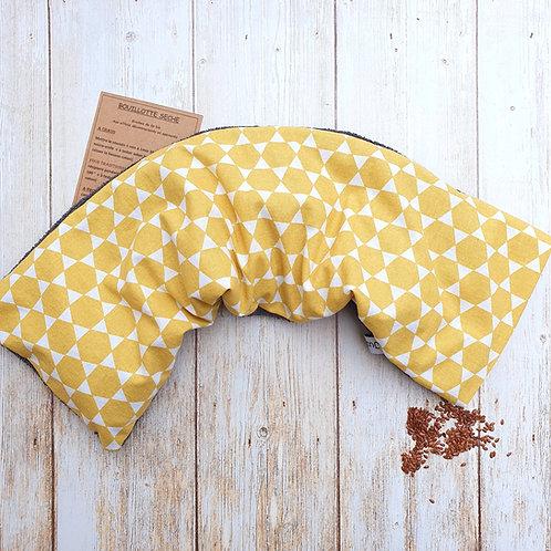 Bouillotte sèche déhoussable 53 cm housse coton géométrique jaune et éponge