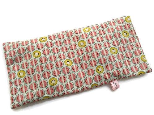 Bouillotte sèche déhoussable 31 cm housse coton motif pastèque et kiwi