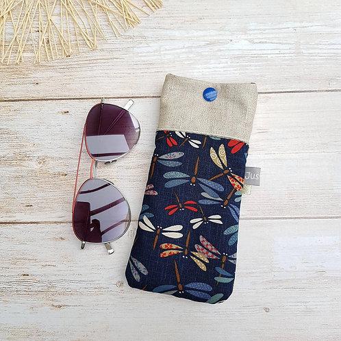 Etui à lunettes en tissu japonais fond bleu marine motifs libellules